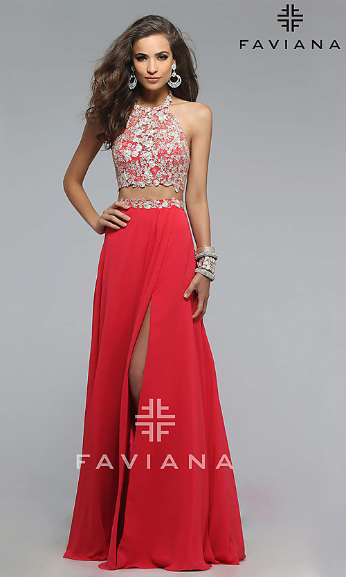 Image of long two piece embroidered top thigh slit dress Style: FA-7716 Front Image