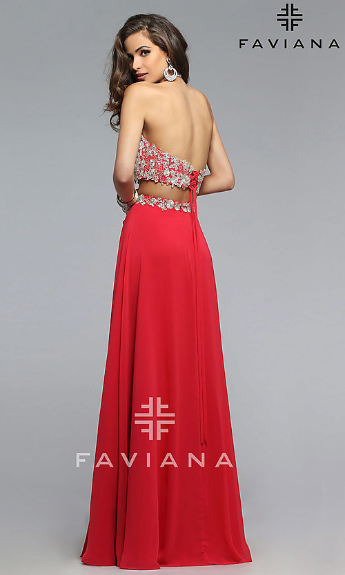Image of long two piece embroidered top thigh slit dress Style: FA-7716 Back Image