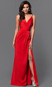 Image of floor length v-neck side slit ruched back dress  Style: FA-7755 Detail Image 3