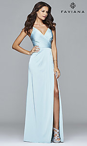 Image of floor length v-neck side slit ruched back dress  Style: FA-7755 Detail Image 7