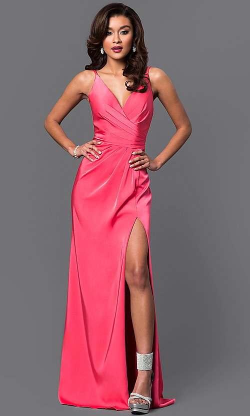 Image of floor length v-neck side slit ruched back dress  Style: FA-7755 Detail Image 6