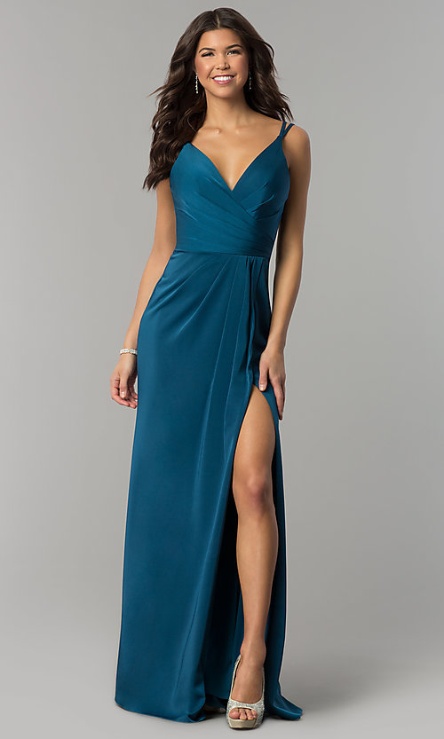 Image of floor length v-neck side slit ruched back dress  Style: FA-7755 Detail Image 1