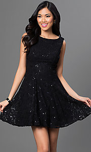 Image of short sleeveless black lace party dress with sequin accents bateau neck open V-back and back zipper closure Style: BD-7BW9247 Front Image