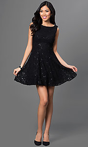 Image of short sleeveless black lace party dress with sequin accents bateau neck open V-back and back zipper closure Style: BD-7BW9247 Detail Image 1