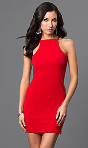 Image of short racerback dress. Style: CH-2634 Detail Image 3