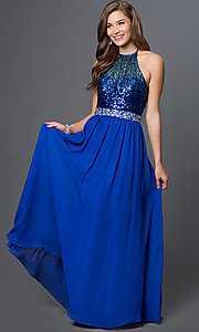 Cobalt Blue Floor Length Halter Dress with Sequin Top