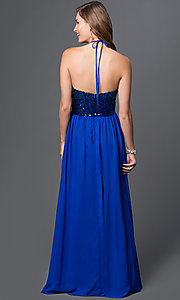 Image of cobalt blue sequin top floor length halter dress Style: MQ-7030635 Back Image