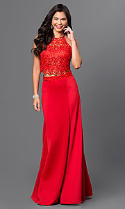 Image of long red two-piece lace halter-top prom dress  Style: MQ-7870623 Front Image