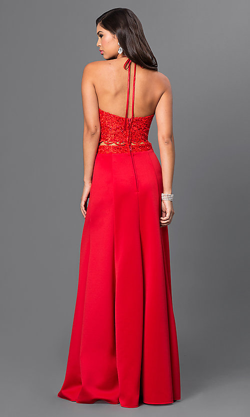 Image of long red two-piece lace halter-top prom dress  Style: MQ-7870623 Back Image