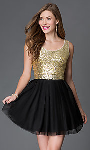 Image of short black chiffon skirt gold sequin top party dress Style: BD-i586c964 Front Image