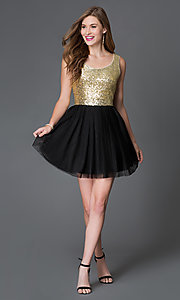 Image of short black chiffon skirt gold sequin top party dress Style: BD-i586c964 Detail Image 1