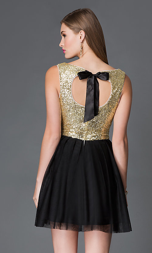 Image of short black chiffon skirt gold sequin top party dress Style: BD-i586c964 Back Image