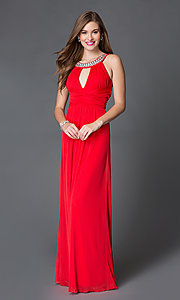 Long Red Open Back Keyhole Prom Dress