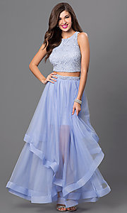 Image of long two-piece dress with lace crop-top and long layered tulle skirt Style: CT-3867CZ8B Front Image