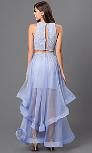 Image of long two-piece dress with lace crop-top and long layered tulle skirt Style: CT-3867CZ8B Back Image