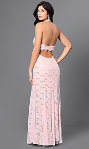 Image of pink halter sequin-lace floor-length Jump prom dress  Style: JU-48292 Back Image