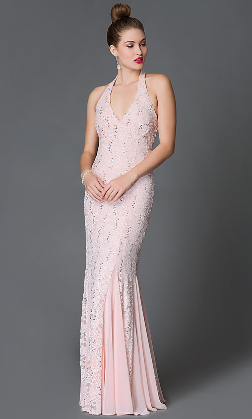 Image of pink halter sequin-lace floor-length Jump prom dress  Style: JU-48292 Front Image