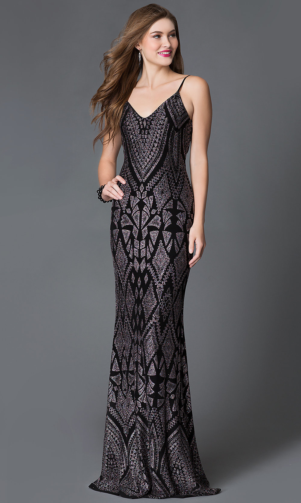 Long Glitter Print V-Neck Prom Dress-PromGirl
