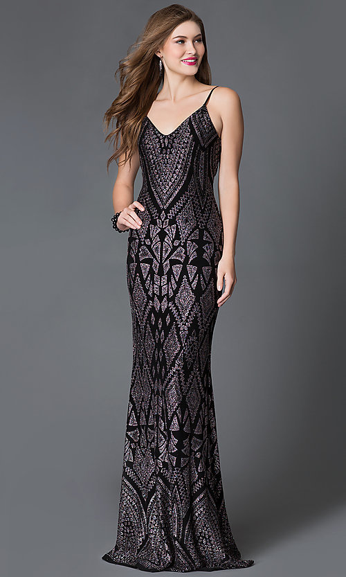 Image of long v-neck glitter print spaghetti strap dress  Style: JU-48277 Front Image
