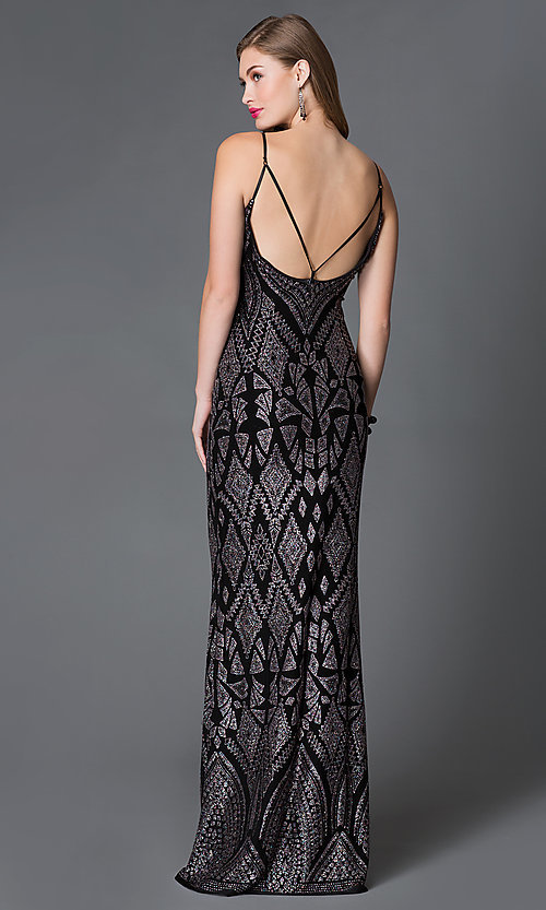 Image of long v-neck glitter print spaghetti strap dress  Style: JU-48277 Back Image