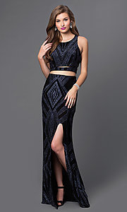 Image of glitter-print mock two-piece long dress by Jump. Style: JU-48077A Front Image