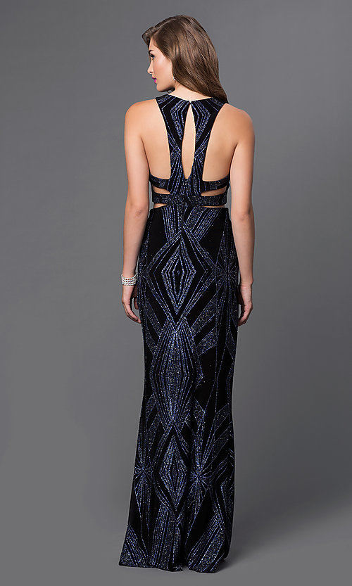 Image of glitter-print mock two-piece long dress by Jump. Style: JU-48077A Back Image