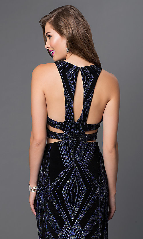 Image of glitter-print mock two-piece long dress by Jump. Style: JU-48077A Detail Image 1