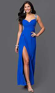 Image of floor-length ruched-bodice open-back prom dress by Jump Style: JU-732 Front Image