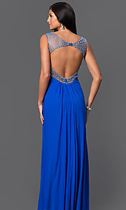 Image of floor-length ruched-bodice open-back prom dress by Jump Style: JU-732 Back Image