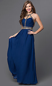 Open Back Long Jewel Embellished Dress with Cut-Outs
