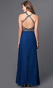 Image of open-back long jewel-detailed dress with cut-outs  Style: JU-793 Back Image
