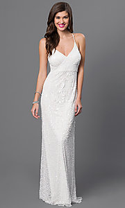 White V-Neck Spaghetti-Strap Dress by Marina