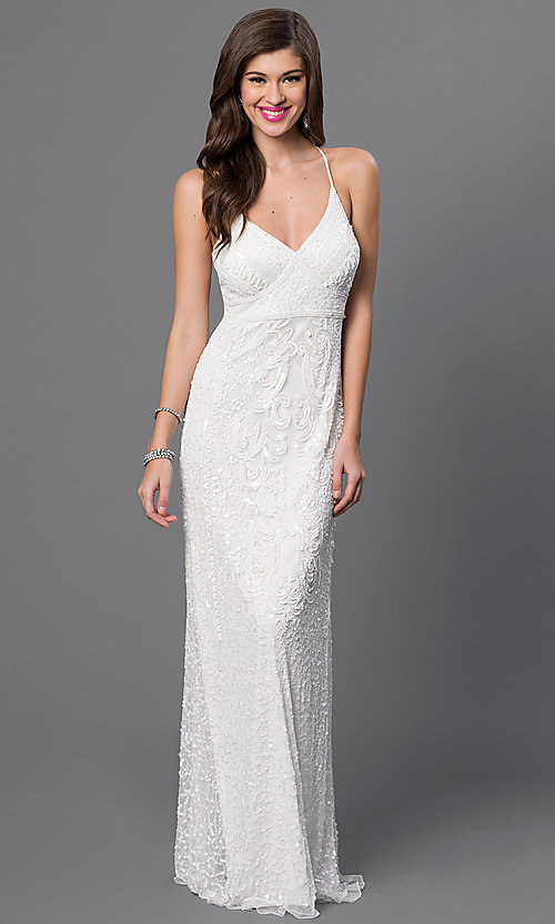 Image of long white v-neck spaghetti-strap dress by Marina Style: JU-MA-260528i Front Image