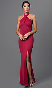 Floor-Length Halter Dress with Side Slit