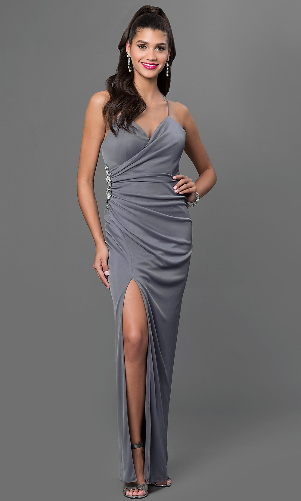 Long Backless Chiffon Onyx Prom Dress - PromGirl