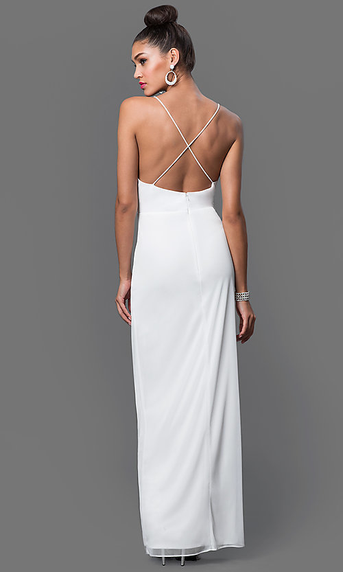 Image of long backless chiffon dress by Onyx Style: JU-ON-644728 Back Image
