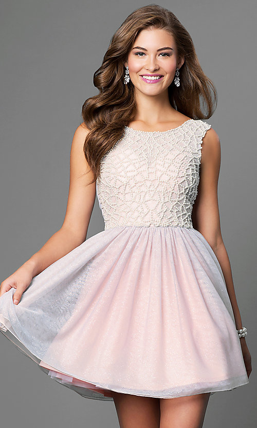 Image of short sleeveless beaded bodice dress Style: AS-511009M4 Front Image