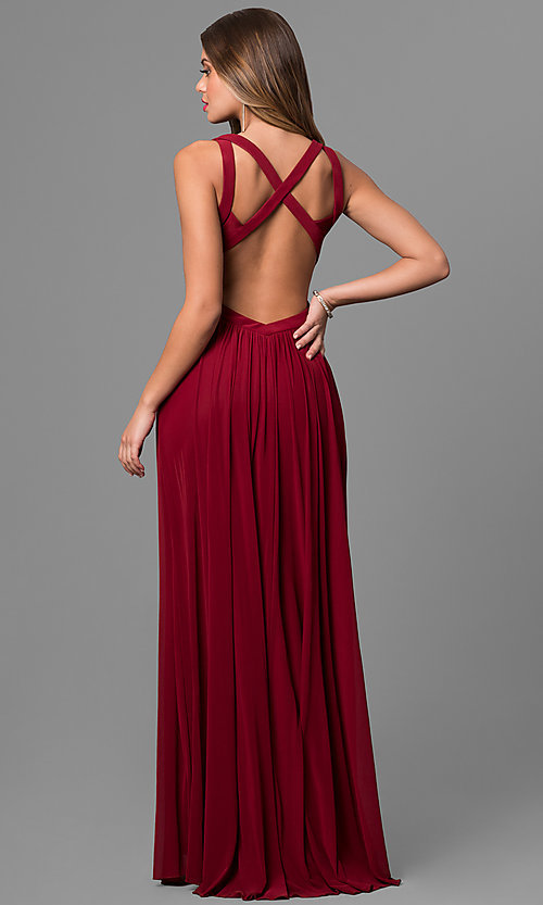 Image of Open Back Long Prom Dress Style: LF-AV-0144 Back Image