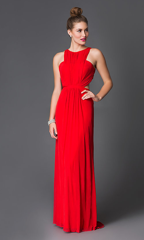 Image of long high neck open back ruched bodice dress Style: LF-AV-0188 Detail Image 1