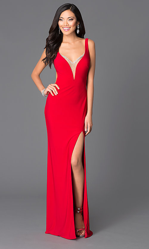 70392087507e Image of red low open-back v-neck prom dress by Abbie Vonn Style