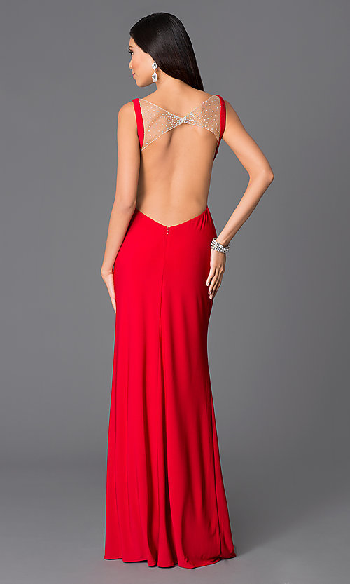 Image of red low open-back v-neck prom dress by Abbie Vonn Style: LF-AV-0200 Back Image