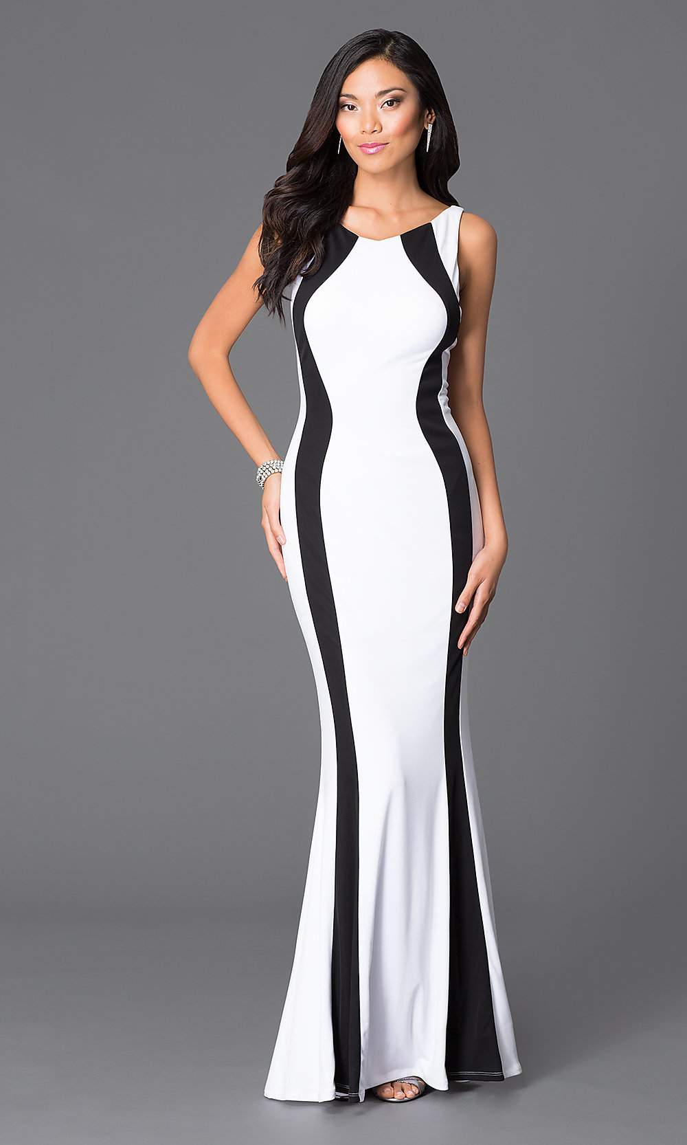 Long White-and-Black Prom Dress - PromGirl