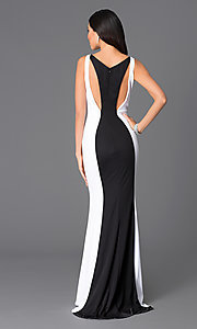 Image of long black-and-white prom dress by Abbie Vonn Style: LF-AV-0245 Back Image