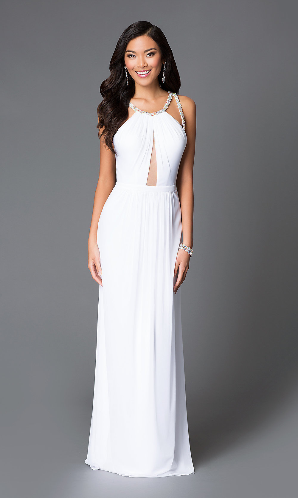 Long White High-Neck Sheer-Keyhole Dress -PromGirl