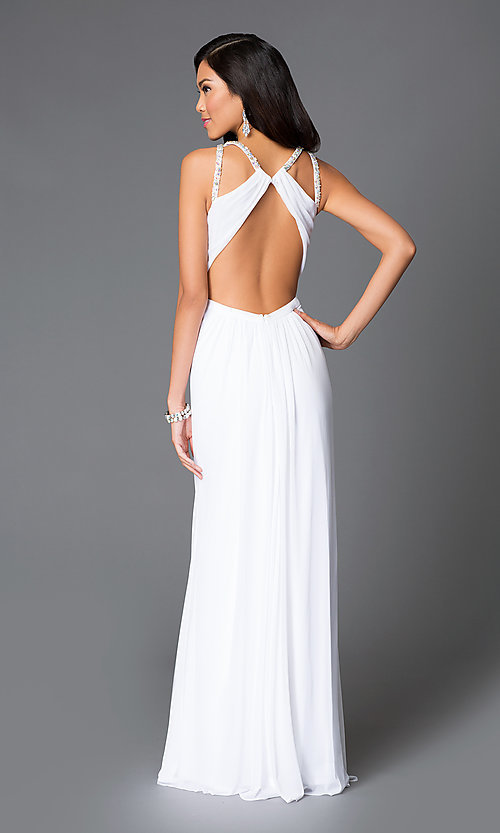 Image of long white high-neck sheer-keyhole dress Style: LF-AV-0273 Back Image