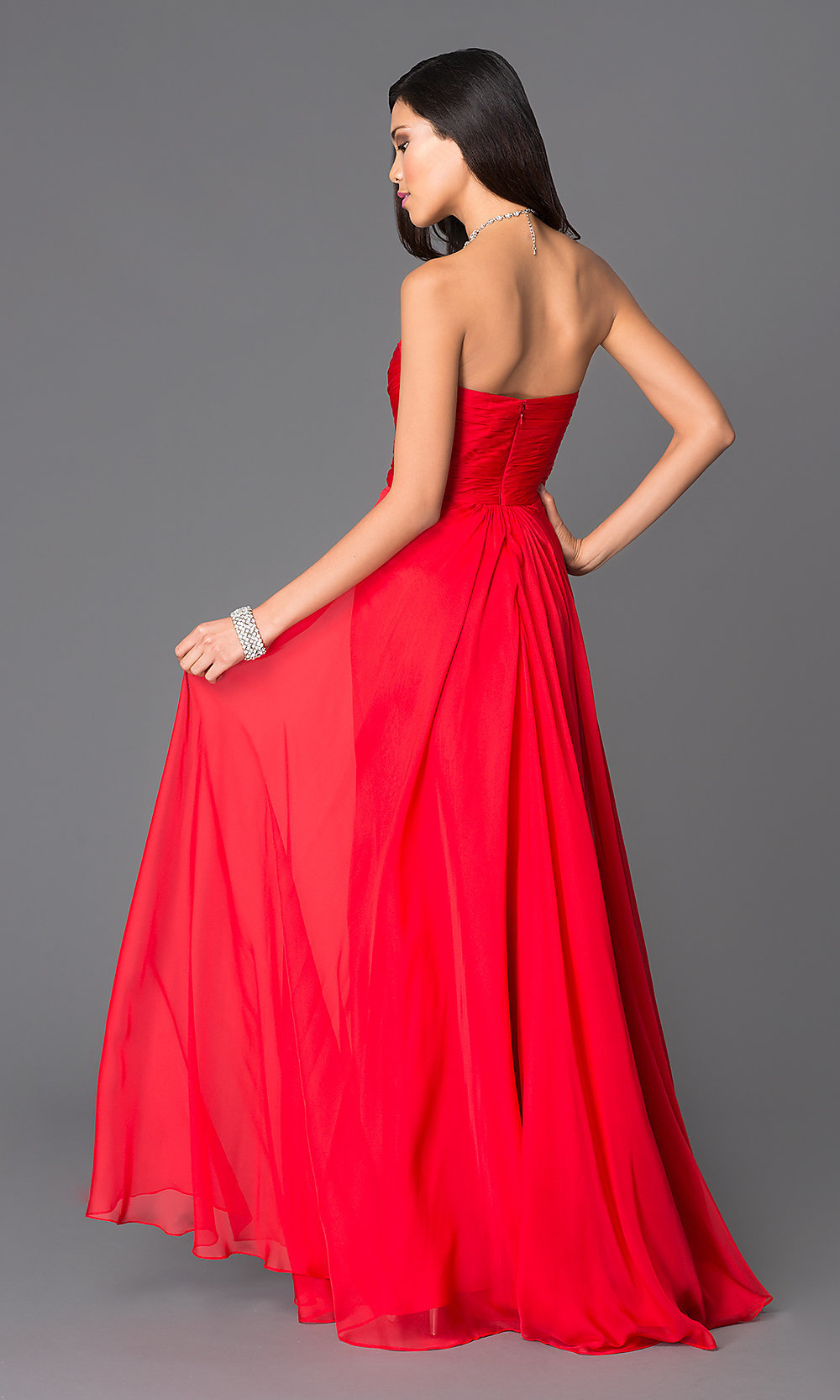Strapless Red Sweetheart Prom Dress - PromGirl