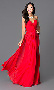 Strapless Red Sweetheart Prom Dress by Abbie Vonn