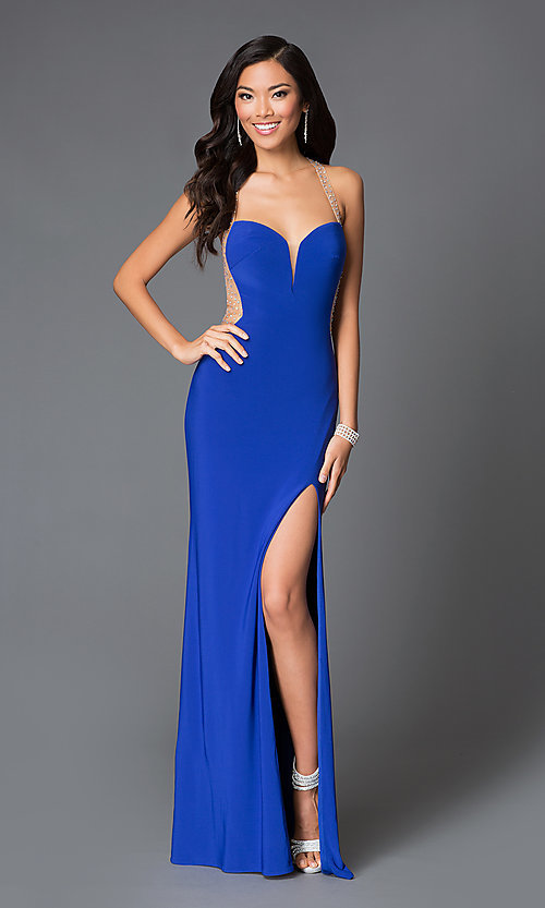 Image of long open-back Abbie Vonn sweetheart prom dress Style: LF-AV-0634 Front Image