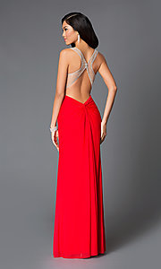 Image of long sweetheart open-back midriff-knot chiffon dress Style: LF-AV-0635 Back Image