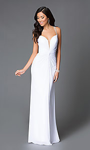 Long Abbie Vonn Open-Back Chiffon Prom Dress